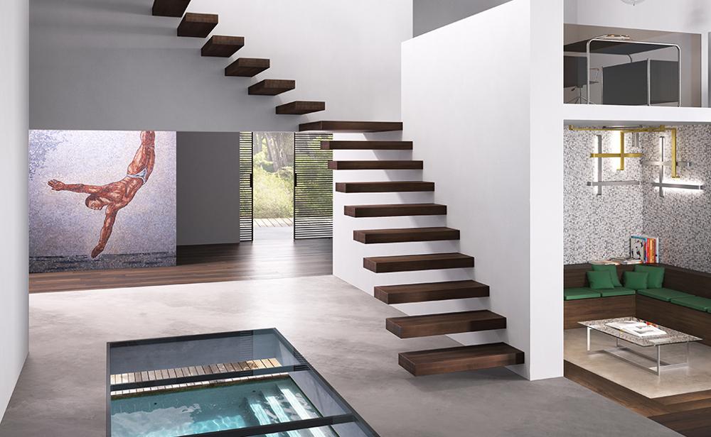 Scala interna minimal design muro modello wall monteferrario - Scala interna design ...