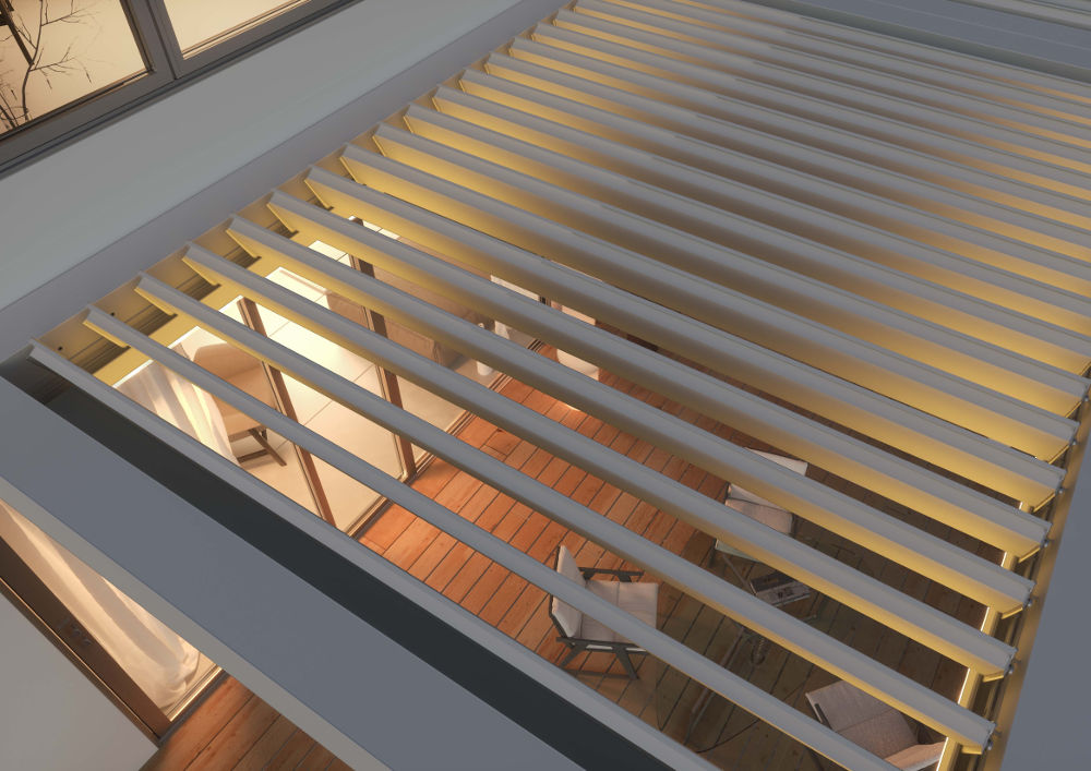 pergola-tenda-da-sole-Hella-modello-Esotica-dettaglio-alto-struttura-luce_1 [©HELLA] aria-label=